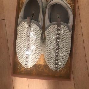 Miu Miu Chrystal embellished Glitter Sneakers